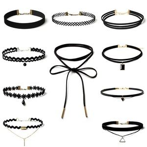 B-Long Boutique  Jewelry - set of 10 black lace choker necklaces