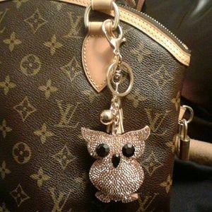 Handbags - Sparkly Owl Bag Charm Key Charm Key Ring