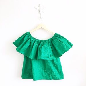 Simply Apparel Tops - Simplee Apparel Emerald Off Shoulder Ruffle Shirt