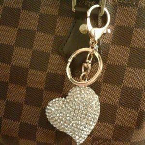 Handbags - Sparkly Heart Bag Charm KeyCharm Key Ring