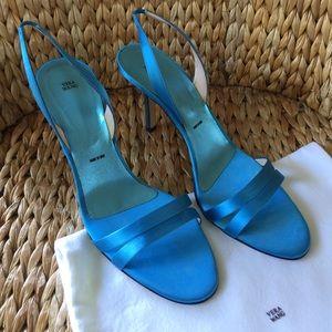 Vera Wang Shoes - New Vera Wang Blue Satin Sling Back Sandals 40