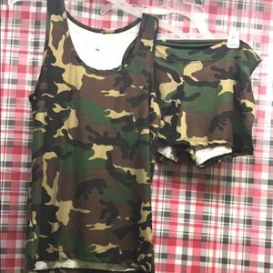 Camo Other - Buttery soft tank top and short set NEW