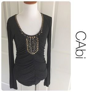 CAbi Tops - CABi NET beaded gray top size M