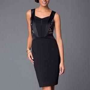 Sangria Dresses & Skirts - Sangria Black Lace Inset Sheath Dress Knee Length