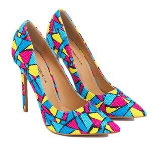 Shoe Republic LA Shoes - Multicolored Pointy Toe Pumps Brand New Never Worn