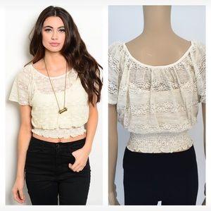 Tops - NIP beige lace crop top