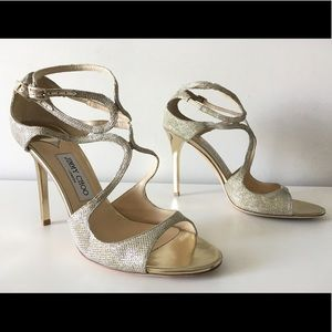 JIMMY CHOO LANG GOLD GLITTER ANKLE STRAP SANDALS