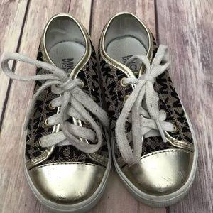 Girls Michael kors gold & black sneakers Sz 8
