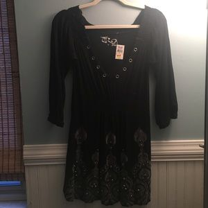 Dresses & Skirts - Black cotton dress with bohemian print