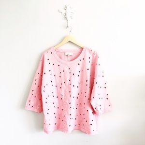 LOFT Tops - LOFT Perforated Embroidered Floral Pink Shirt