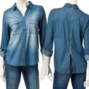 My Michelle Tops - Chambray Denim Roll-Tab Shirt Zipper Back Top NWT