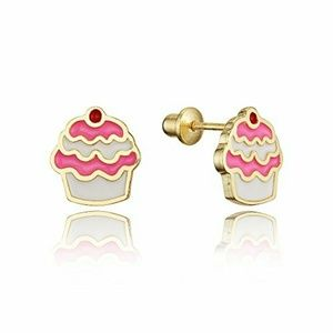 Other - 14k gold plated Brass Enamel Pink Cupcake Earrings