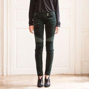 Balmain Pants - Balmain Velvet Moto Skinny Pants