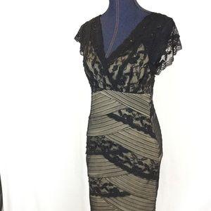 Marina Rinaldi Dresses & Skirts - MARINA Black Lace Tan Empire Waist 8 P Party Dress
