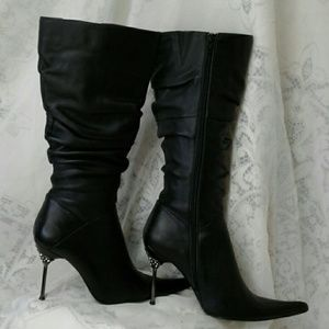 MARCIANO  Shoes - MARCIANO BLACK LEATHER RHINESTONE HEEL BOOTS