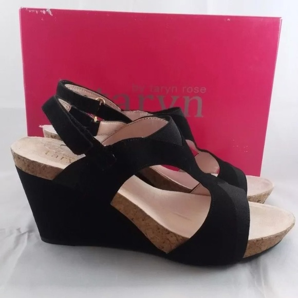 a08ee52797e Taryn Rose Tuwa Women Black Wedge Sandal US 10M