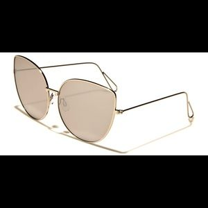 Cat Eye Mirrored Oversized Sunglasses in Silver