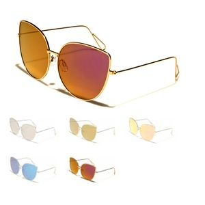 Red/Gold Cat Eye Mirror Oversized Sunglasses