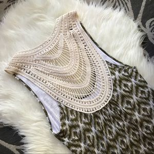 Michael Stars Dresses & Skirts - Michael Stars Dress Ikat Print Crochet Back Green
