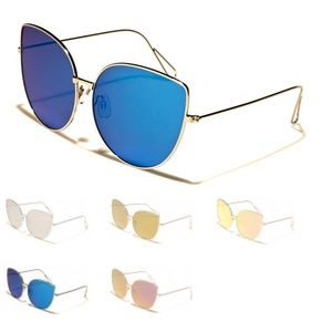 Blue/Silver Cat Eye Mirrored Oversized Sunglasses