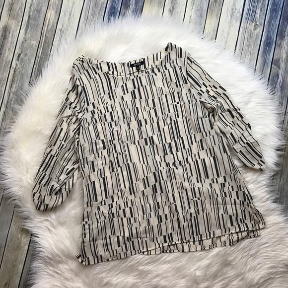 Apt. 9 Tops - Apt. 9 Grey Line Beige Pattern Tab Sleeve Blouse