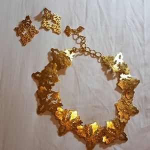 Gold earrings and necklace