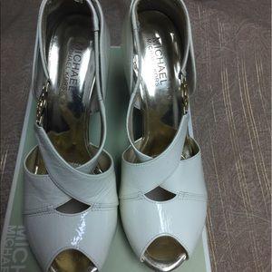 Michael Kors leather peep toes