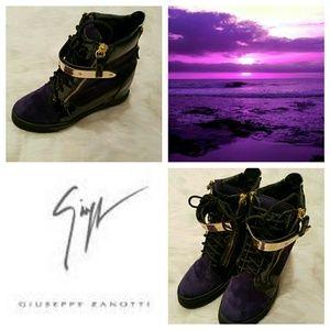 Giuseppe Zanotti Shoes - GIUSEPPE ZANOTTI - PURPLE !! Velvet Gold Sneakers