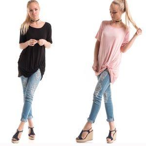 Fashionomics Tops - NWT! 💕🖤💕 pink & black tie tunic tops!