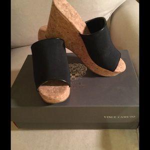 Vince Camuto black wedge slip on Size 7