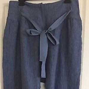 Lilith 💯 Linen Cropped relaxing pants, blue