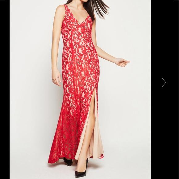 50005bc47d07 BCBGeneration Dresses   Floral Lace Side Slit Godets Dress   Poshmark