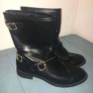 Mossimo Short Black Boots With Gold Hardware