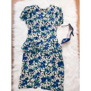24hr❗️Vtg80s Floral Ruffle Peplum Wiggle Dress Med
