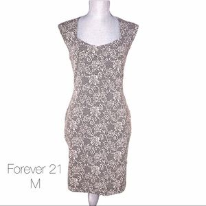Forever 21 Cream Black Bandage Floral Lace Dress M