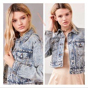 Urban Outfitters Embellished Denim Trucker Jacket