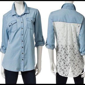 Wishful Park Tops - Chambray Denim Shirt Roll-Tab Lace Back Top NWT