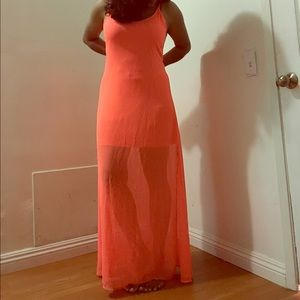B-Long Boutique Dresses & Skirts - Neon color sheer maxi Dress