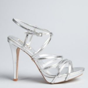 Badgley Mischka Shoes - Badgley Mischka silver leather strappy Idol heel
