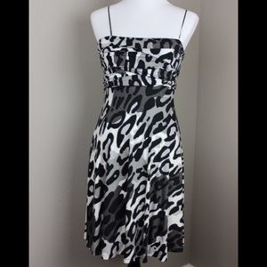 Cache Black White Leopard Print Party Dress