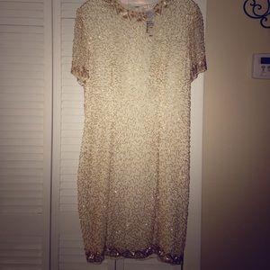 A.J. Bari Dresses & Skirts - Vtg A.J. Bari Cream Silk Beaded Cocktail Dress