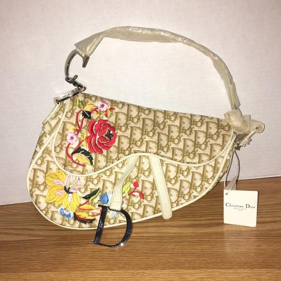 11090f1b5584 Christian Dior Handbags - Christian Dior Vintage Flowers Saddlebag