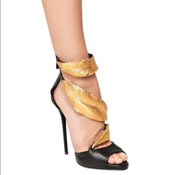 eafdb73b3ccfd Giuseppe Zanotti Shoes - Giuseppe Zanotti Strappy Gold Leaf Sandal