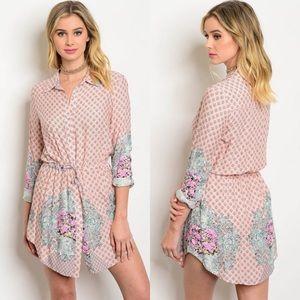 Boutique Dresses & Skirts - Blush & Mint Long Sleeve Floral Shirt Tunic Dress