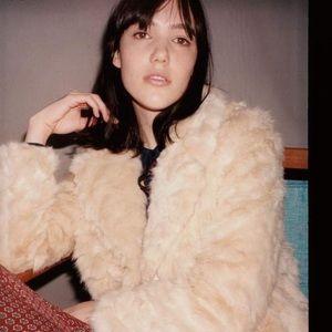 Zara faux fur Trafaluc cream coat