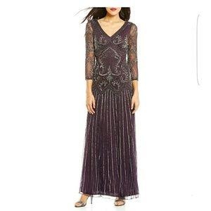 Pisarro Nights Dresses & Skirts - Pisarro Nights Beaded V-Neck 3/4 Sleeve Gown