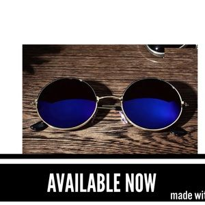 Other - Gold Frame Blue Mirrored Lens Sunglasses.