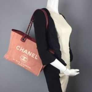 "CHANEL Handbags - CHANEL ""DEAUVILLE"" MEDIUM RED TOTE"