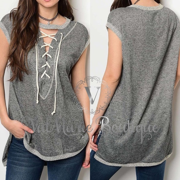 ValMarie Boutique Tops - FRENCH TERRY LACE UP FRONT TOP