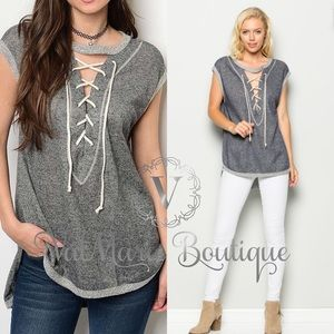 FRENCH TERRY LACE UP FRONT TOP